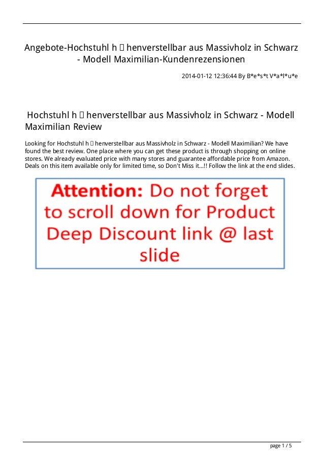 Angebote-Hochstuhl höhenverstellbar aus Massivholz in Schwarz - Modell Maximilian-Kundenrezensionen 2014-01-12 12:36:44 By...