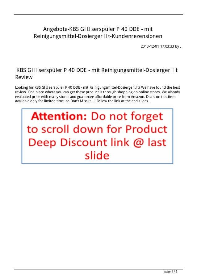 Angebote-KBS Gläserspüler P 40 DDE - mit Reinigungsmittel-Dosiergerät-Kundenrezensionen 2013-12-01 17:03:33 By .  KBS Gläs...