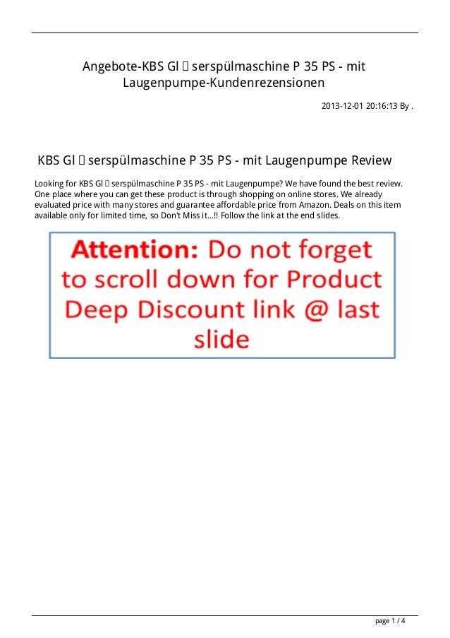 Angebote-KBS Gläserspülmaschine P 35 PS - mit Laugenpumpe-Kundenrezensionen 2013-12-01 20:16:13 By .  KBS Gläserspülmaschi...