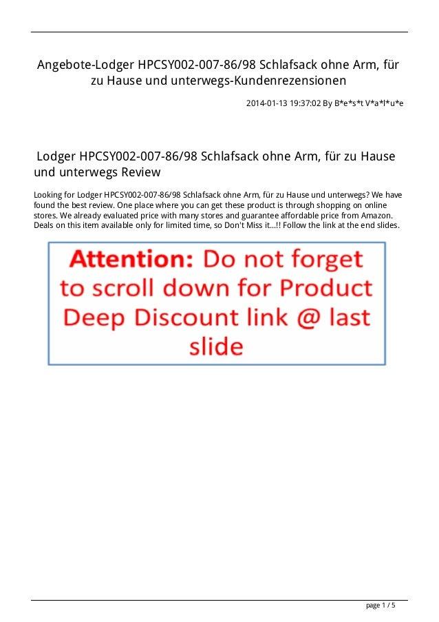 Angebote-Lodger HPCSY002-007-86/98 Schlafsack ohne Arm, für zu Hause und unterwegs-Kundenrezensionen 2014-01-13 19:37:02 B...