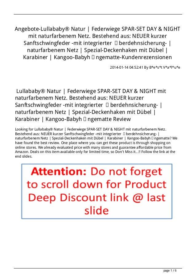 Angebote-Lullababy® Natur | Federwiege SPAR-SET DAY & NIGHT mit naturfarbenem Netz. Bestehend aus: NEUER kurzer Sanftschwi...