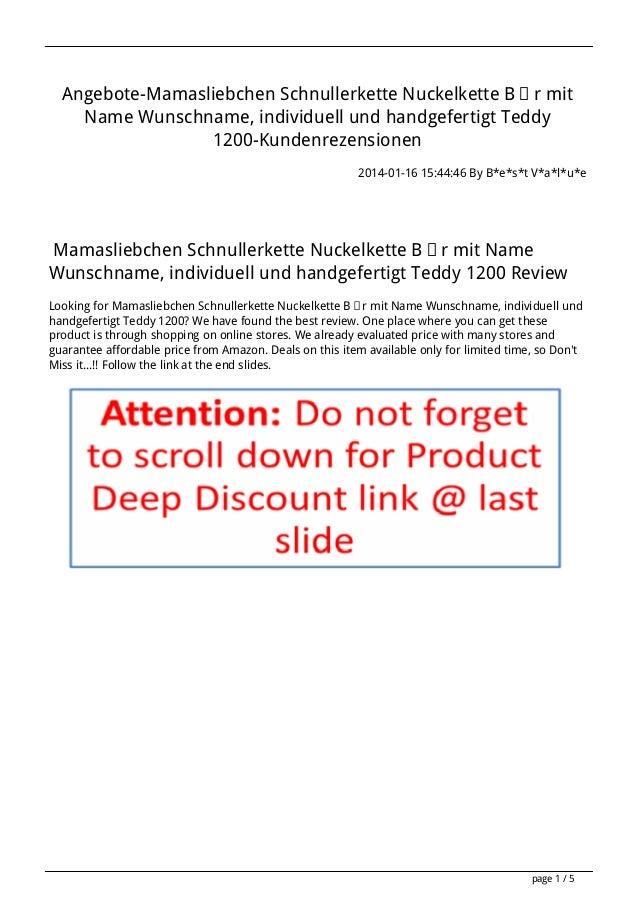 Angebote-Mamasliebchen Schnullerkette Nuckelkette Bär mit Name Wunschname, individuell und handgefertigt Teddy 1200-Kunden...