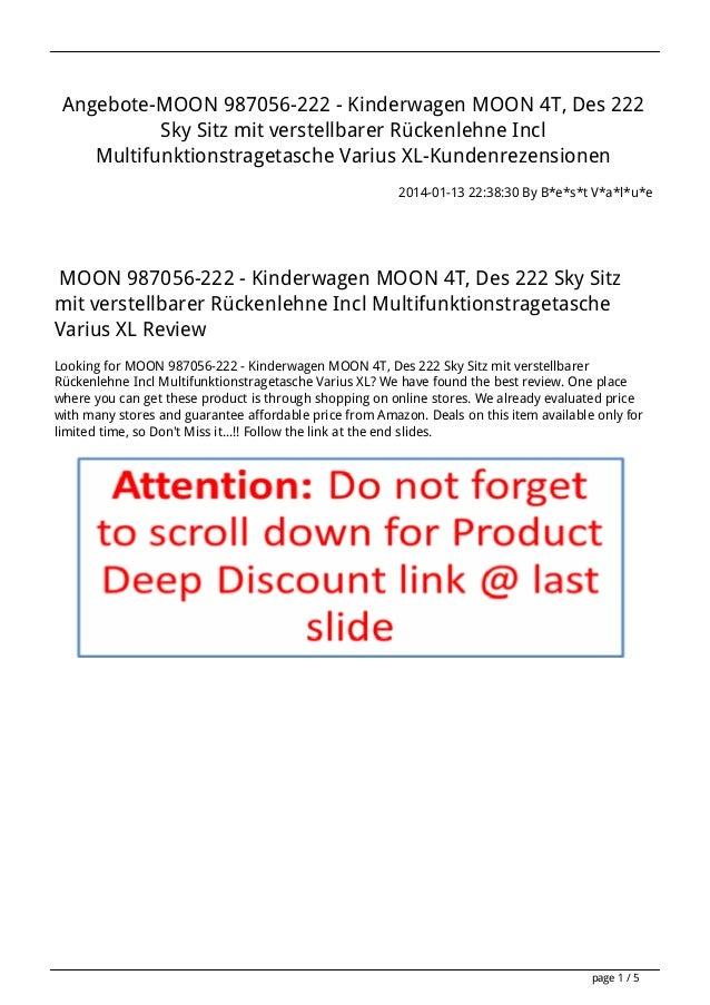 Angebote-MOON 987056-222 - Kinderwagen MOON 4T, Des 222 Sky Sitz mit verstellbarer Rückenlehne Incl Multifunktionstragetas...