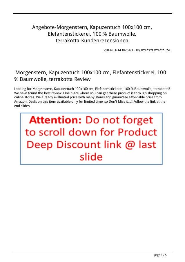 Angebote-Morgenstern, Kapuzentuch 100x100 cm, Elefantenstickerei, 100 % Baumwolle, terrakotta-Kundenrezensionen 2014-01-14...