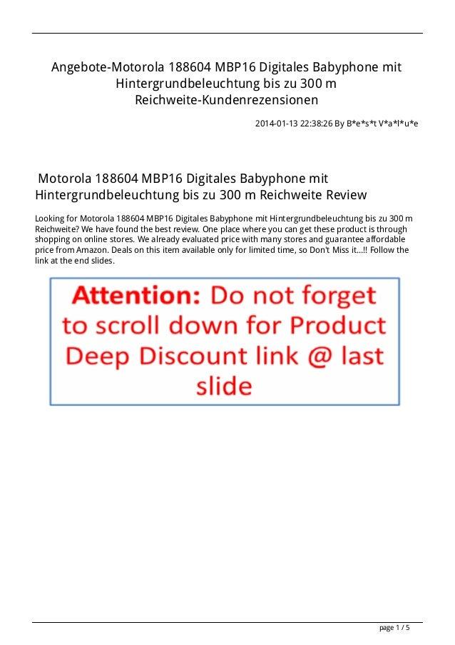 Angebote-Motorola 188604 MBP16 Digitales Babyphone mit Hintergrundbeleuchtung bis zu 300 m Reichweite-Kundenrezensionen 20...