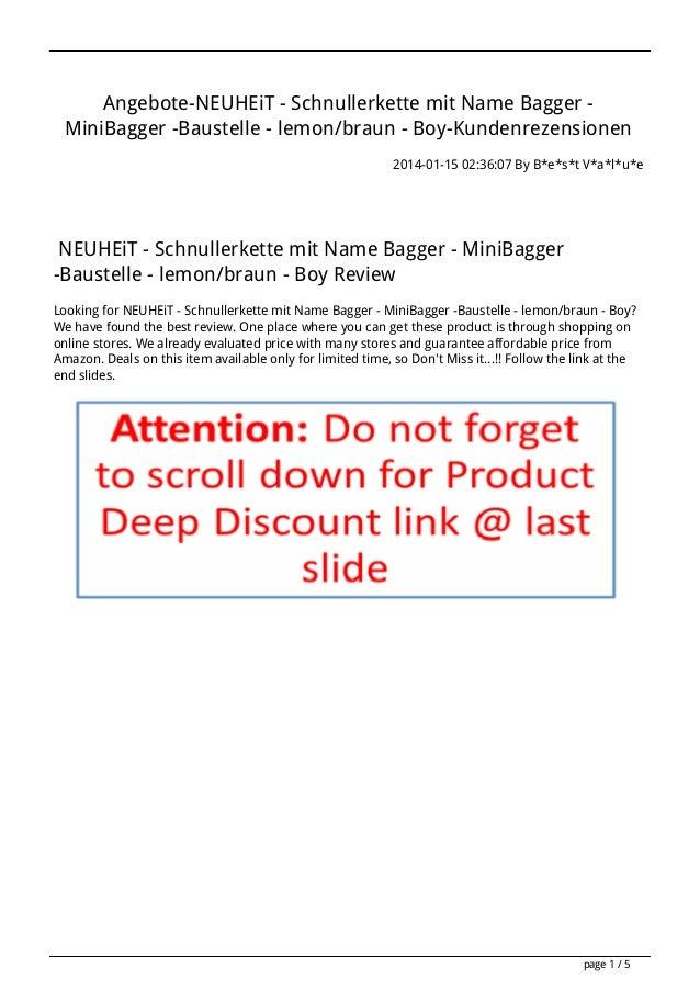 Angebote-NEUHEiT - Schnullerkette mit Name Bagger MiniBagger -Baustelle - lemon/braun - Boy-Kundenrezensionen 2014-01-15 0...