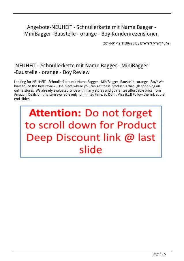 Angebote-NEUHEiT - Schnullerkette mit Name Bagger MiniBagger -Baustelle - orange - Boy-Kundenrezensionen 2014-01-12 11:06:...