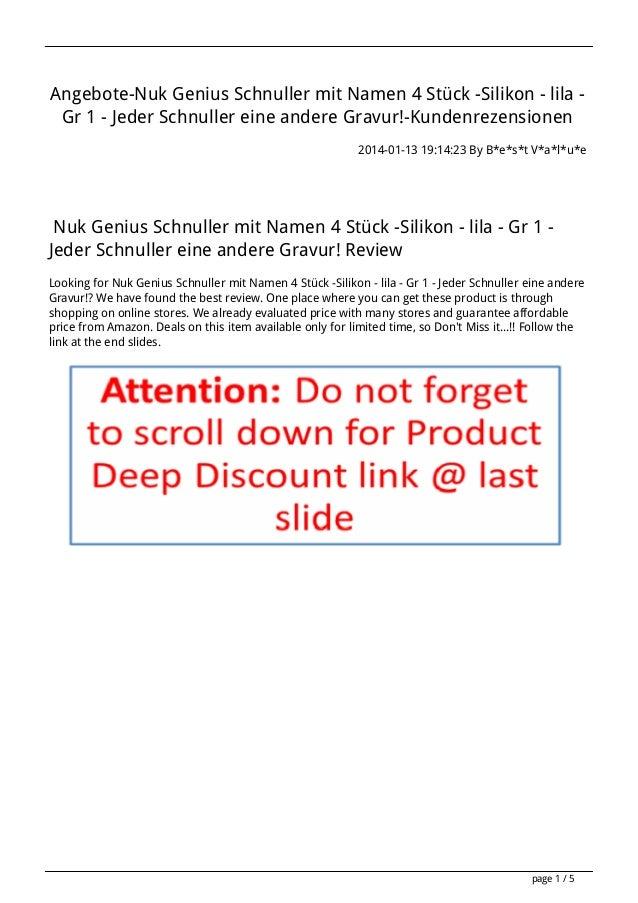 Angebote-Nuk Genius Schnuller mit Namen 4 Stück -Silikon - lila Gr 1 - Jeder Schnuller eine andere Gravur!-Kundenrezension...