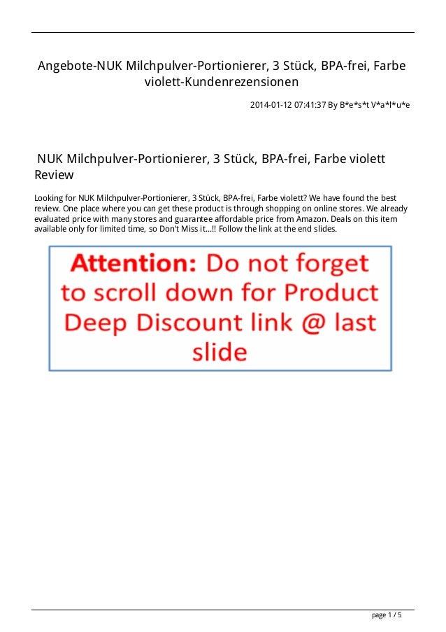 Angebote-NUK Milchpulver-Portionierer, 3 Stück, BPA-frei, Farbe violett-Kundenrezensionen 2014-01-12 07:41:37 By B*e*s*t V...