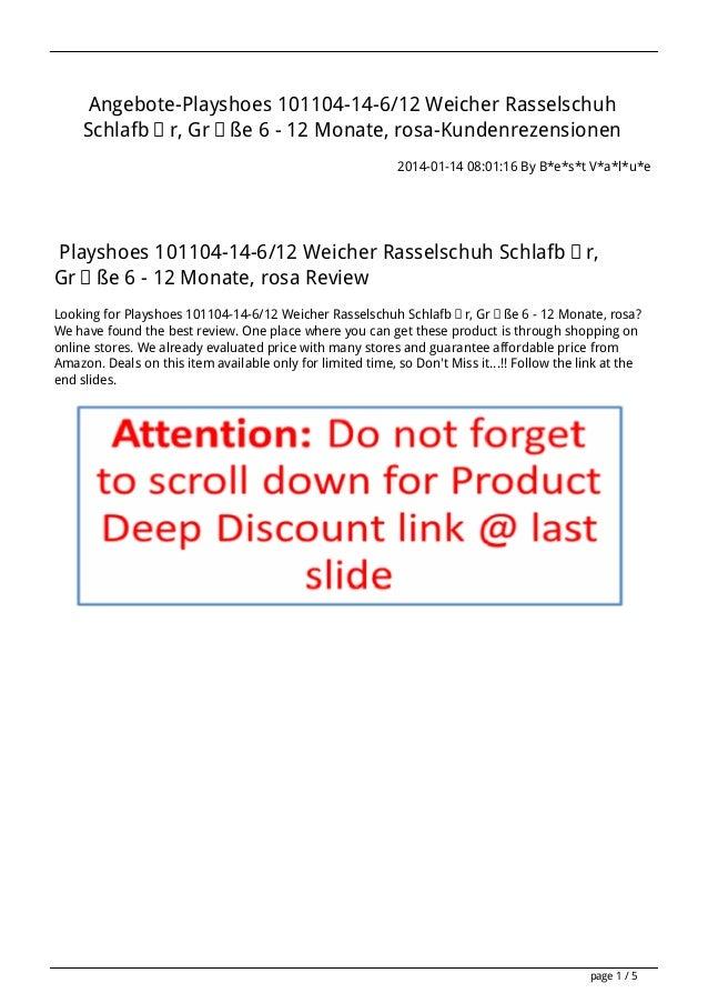 Angebote-Playshoes 101104-14-6/12 Weicher Rasselschuh Schlafbär, Größe 6 - 12 Monate, rosa-Kundenrezensionen 2014-01-14 08...