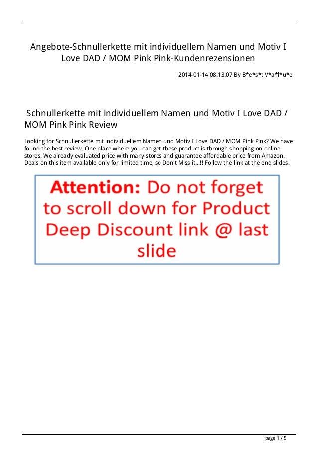 Angebote-Schnullerkette mit individuellem Namen und Motiv I Love DAD / MOM Pink Pink-Kundenrezensionen 2014-01-14 08:13:07...