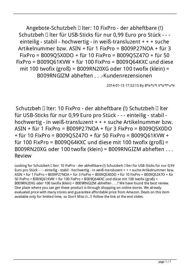 Angebote-Schutzbehälter: 10 FixPro - der abheftbare (!) Schutzbehälter für USB-Sticks für nur 0,99 Euro pro Stück - - eint...