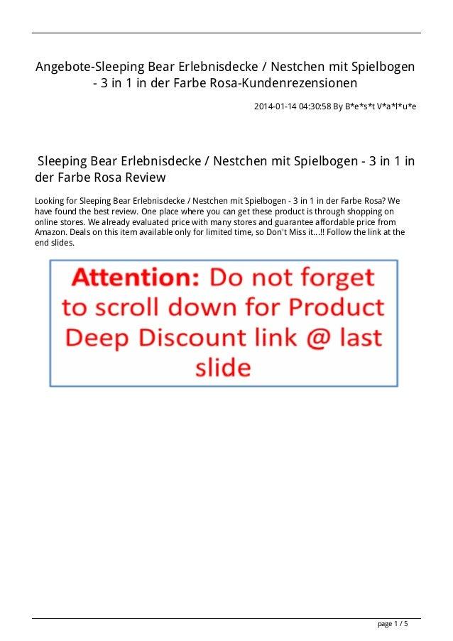 Angebote-Sleeping Bear Erlebnisdecke / Nestchen mit Spielbogen - 3 in 1 in der Farbe Rosa-Kundenrezensionen 2014-01-14 04:...
