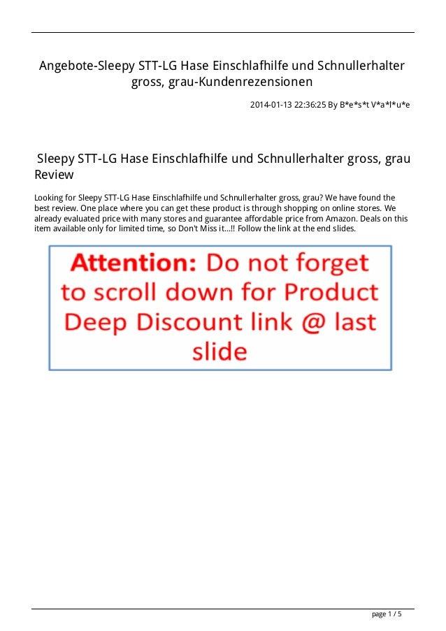 Angebote-Sleepy STT-LG Hase Einschlafhilfe und Schnullerhalter gross, grau-Kundenrezensionen 2014-01-13 22:36:25 By B*e*s*...