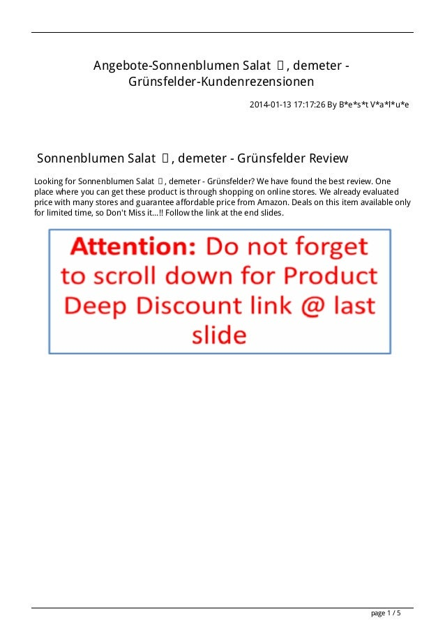 Angebote-Sonnenblumen Salat ʠ, demeter Grünsfelder-Kundenrezensionen 2014-01-13 17:17:26 By B*e*s*t V*a*l*u*e  Sonnenblume...