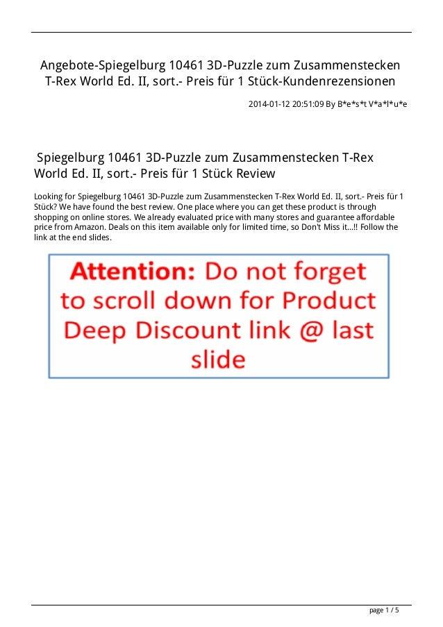 Angebote-Spiegelburg 10461 3D-Puzzle zum Zusammenstecken T-Rex World Ed. II, sort.- Preis für 1 Stück-Kundenrezensionen 20...