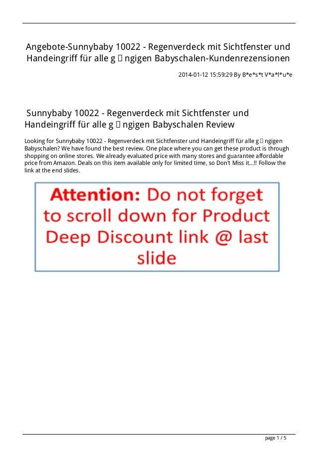 Angebote-Sunnybaby 10022 - Regenverdeck mit Sichtfenster und Handeingriff für alle gängigen Babyschalen-Kundenrezensionen ...