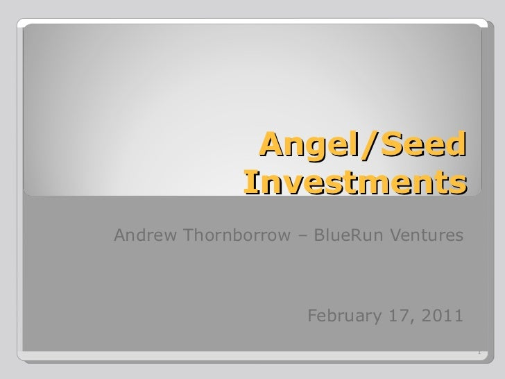 Angel   seed investing