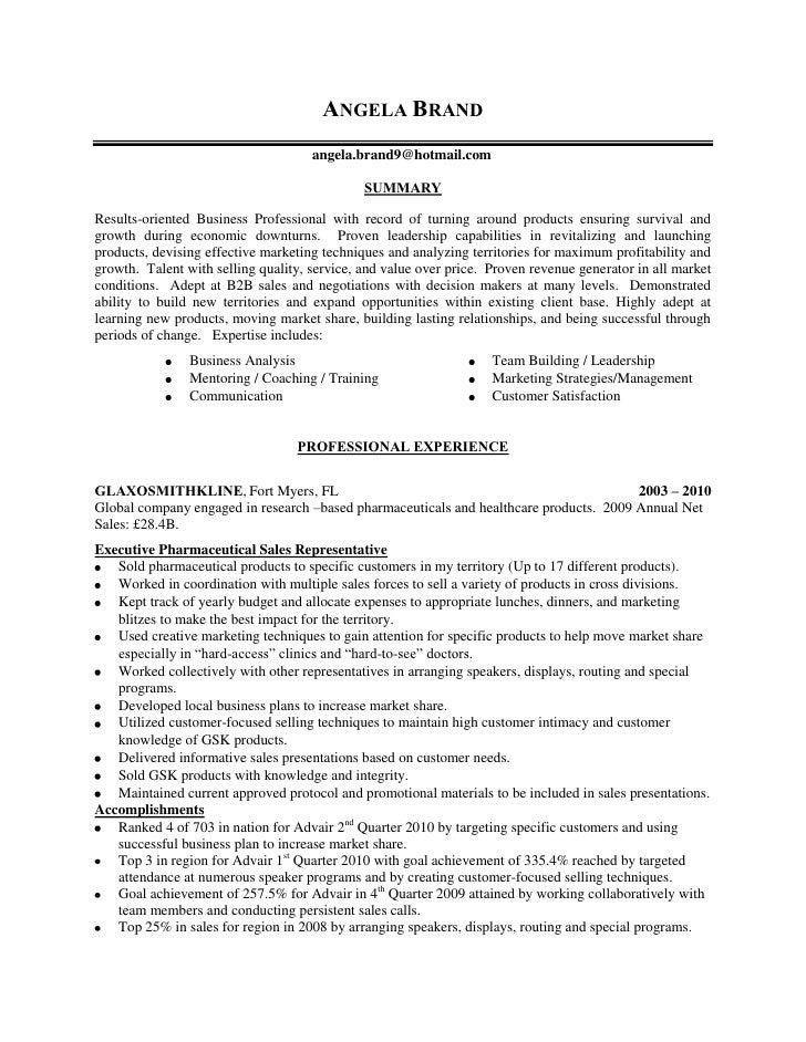 angela brand sales resume