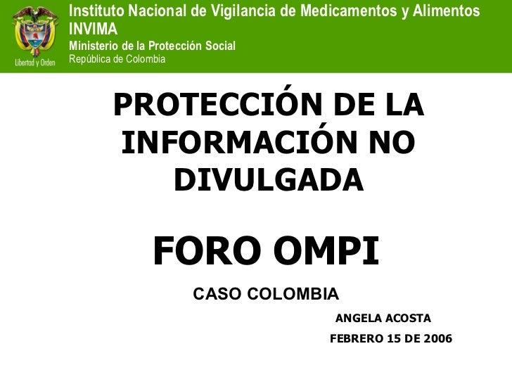 Foro OMPI 2006 Datos de Prueba