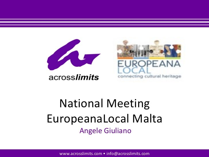 Welcome speech and Introduction to the EuropeanaLocal Project