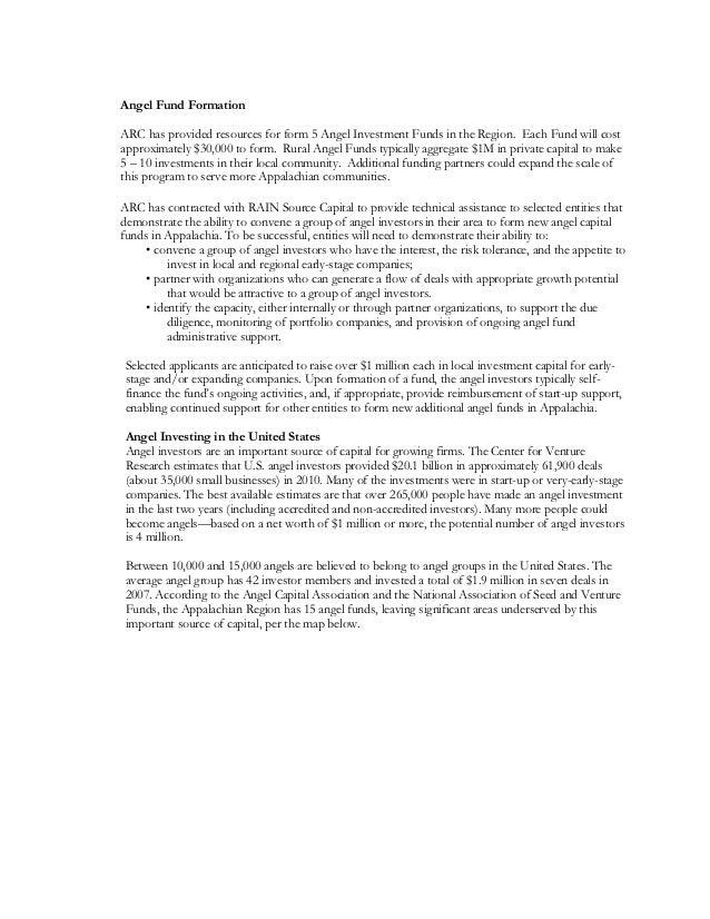 Angel fund formation narrative