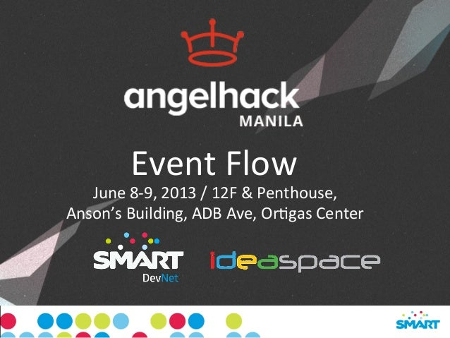 Event	  Flow	  June	  8-­‐9,	  2013	  /	  12F	  &	  Penthouse,	  	  Anson's	  Building,	  ADB	  Ave,	  OrCgas	  Center