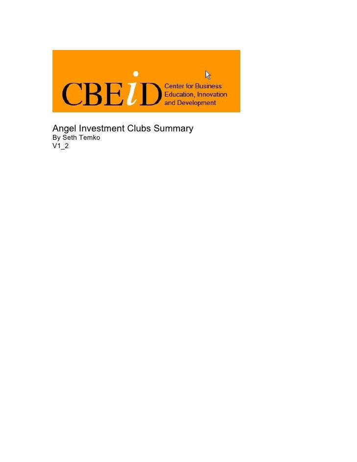 Angel Investment Clubs Summary By Seth Temko V1_2