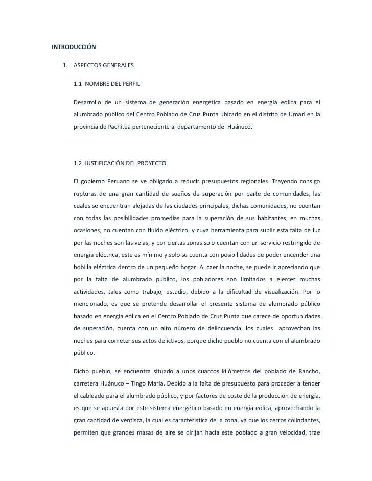 INTRODUCCIÓN    1. ASPECTOS GENERALES       1.1 NOMBRE DEL PERFIL       Desarrollo de un sistema de generación energética ...