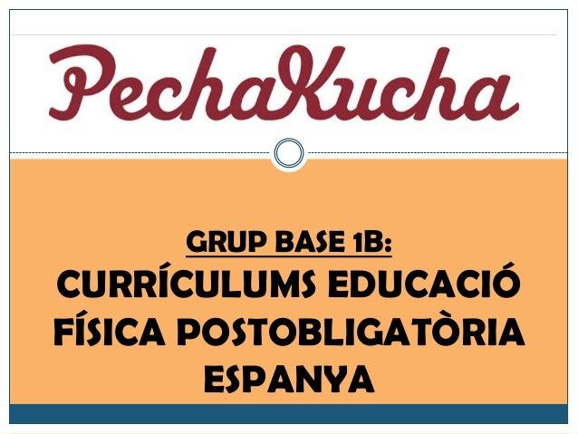 GRUP BASE 1B: CURRÍCULUMS EDUCACIÓ FÍSICA POSTOBLIGATÒRIA ESPANYA