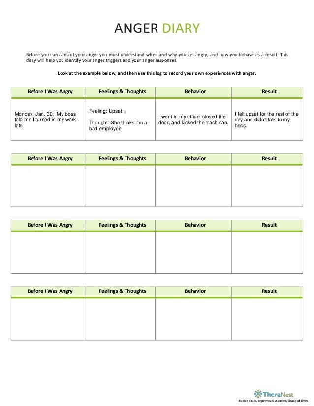 Free Worksheets feelings and emotions worksheets for kids : Anger Diary Worksheet - TheraNest.com