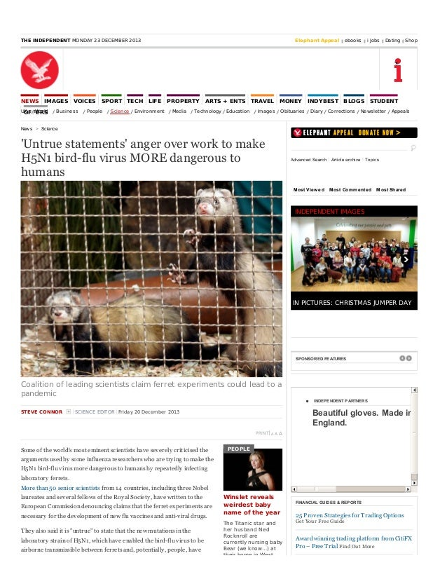 Anger Over Work to Make Genetically Engineered H5N1 Bird-Flu Virus MORE Dangerous to Humans