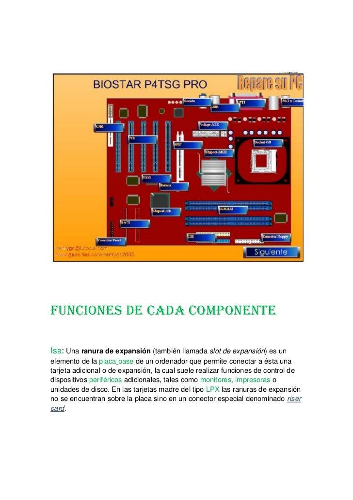 Funciones de cada componente <br />Isa: Una ranura de expansión (también llamada slot de expansión) es un elemento de la p...