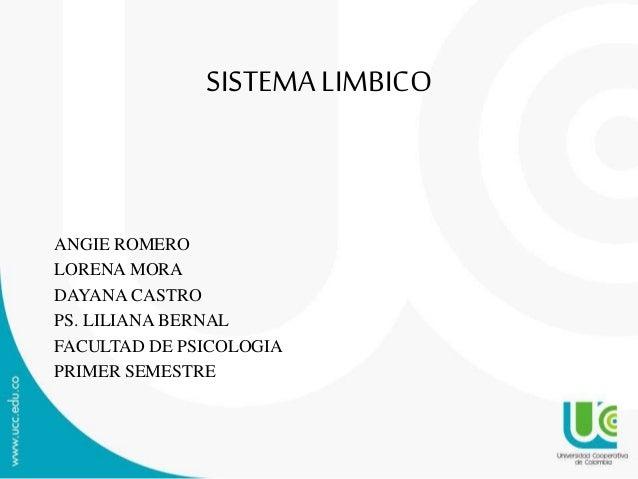SISTEMALIMBICO ANGIE ROMERO LORENA MORA DAYANA CASTRO PS. LILIANA BERNAL FACULTAD DE PSICOLOGIA PRIMER SEMESTRE