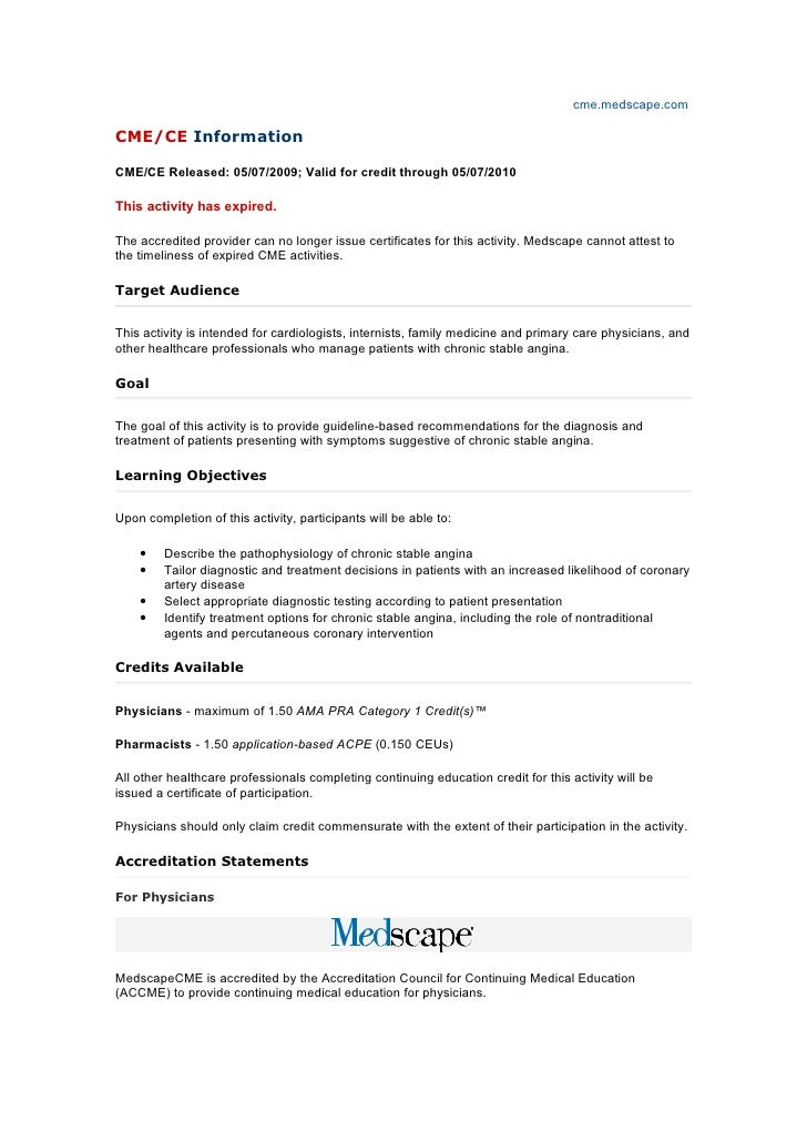 cme.medscape.comCME/CE InformationCME/CE Released: 05/07/2009; Valid for credit through 05/07/2010This activity has expire...