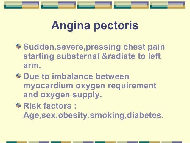Angina pectorisSudden,severe,pressing chest painstarting substernal &radiate to leftarm.Due to imbalance betweenmyocardium...