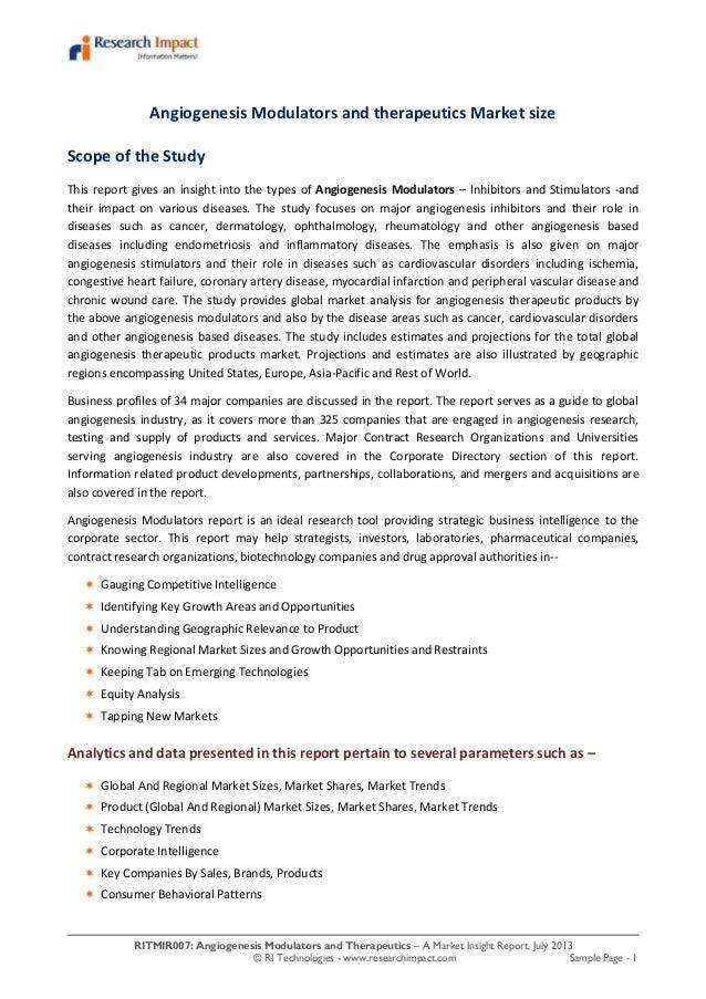 RITMIR007: Angiogenesis Modulators and Therapeutics – A Market Insight Report, July 2013 © RI Technologies - www.researchi...
