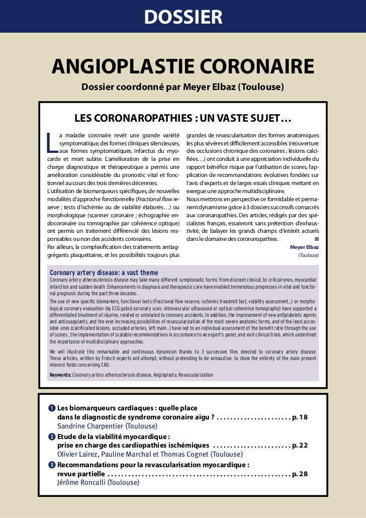 DOSSIER  AngIOplAStIE cOROnAIRE                       Dossier coordonné par Meyer Elbaz (toulouse)                  lES cO...