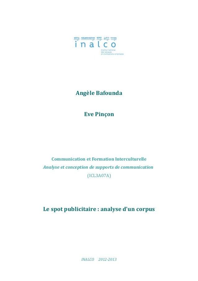 Angèle Bafounda                  Eve Pinçon   Communication et Formation InterculturelleAnalyse et conception de supports ...