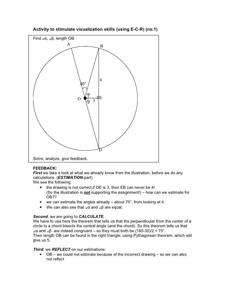 Activity to stimulate visualization skills (using E-C-R) (no.1)  Find ∠α, ∠β, length OB.                    A             ...