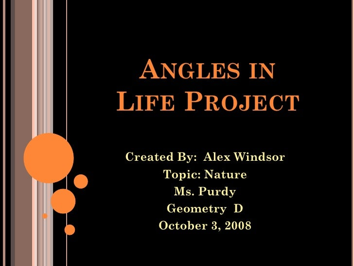 ANGLES IN LIFE PROJECT Created By: Alex Windsor       Topic: Nature        Ms. Purdy       Geometry D      October 3, 2008