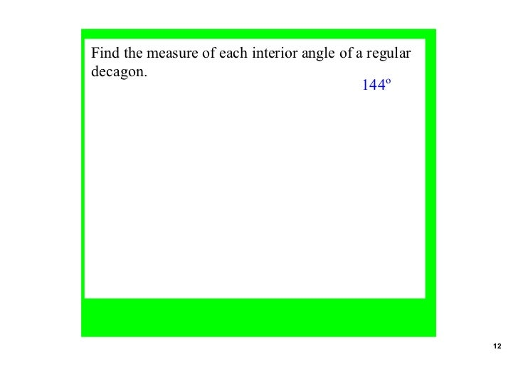 Angles 2 in polygons Exterior angle measure of a decagon