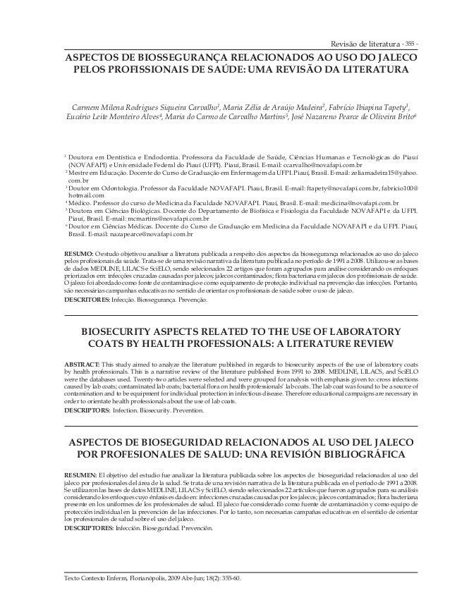 Revisão de literatura - 355 - Texto Contexto Enferm, Florianópolis, 2009 Abr-Jun; 18(2): 355-60. ASPECTOS DE BIOSSEGURANÇA...