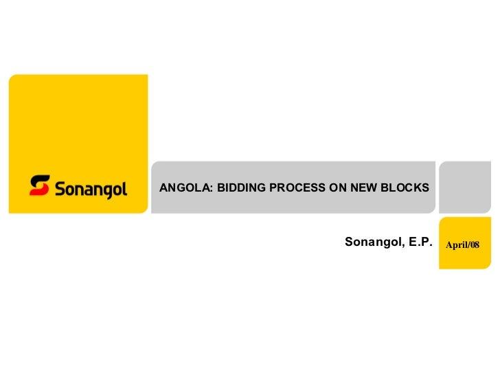 ANGOLA: BIDDING PROCESS ON NEW BLOCKS Sonangol, E.P. April/08