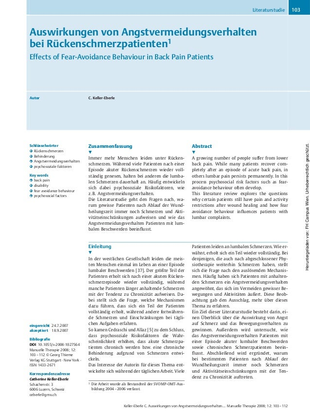 Auswirkungen von Angstvermeidungsverhalten bei Rückenschmerzpatienten1 Effects of Fear-Avoidance Behaviour in Back Pain Pa...