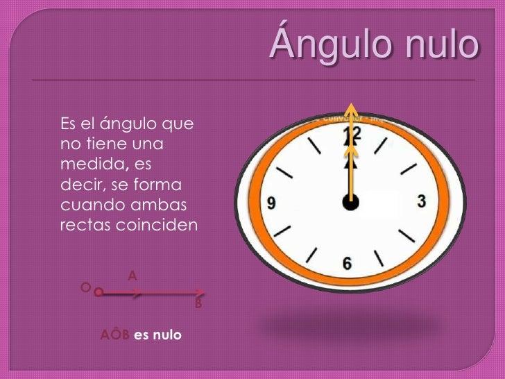 Ángulo nulo <br />Es el ángulo que no tiene una medida,es decir, se forma cuando ambas rectas coinciden<br />A<br />O<br /...
