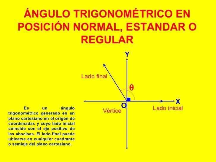 ÁNGULO TRIGONOMÉTRICO EN POSICIÓN NORMAL, ESTANDAR O REGULAR Es un ángulo trigonométrico generado en un plano cartesiano e...
