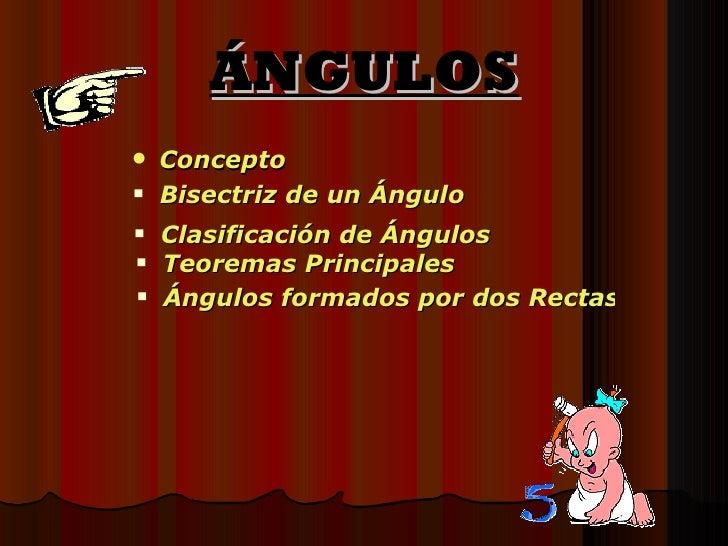 ÁNGULOS <ul><li>Concepto </li></ul><ul><li>Bisectriz de un Ángulo </li></ul><ul><li>Clasificación de Ángulos </li></ul><ul...