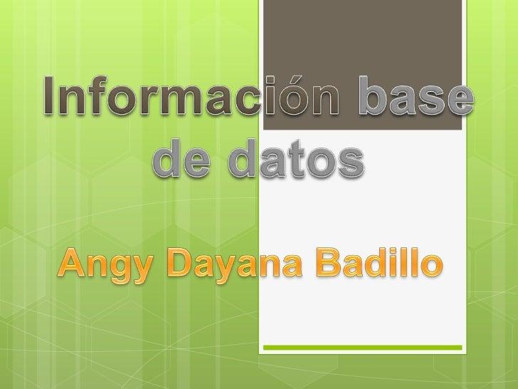 Información base de datos<br />Angy Dayana Badillo<br />