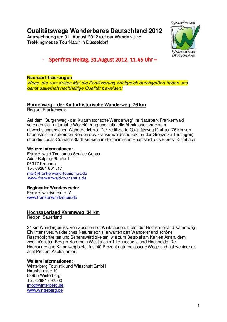 Qualitätswege Wanderbares Deutschland 2012Auszeichnung am 31. August 2012 auf der Wander- undTrekkingmesse TourNatur in Dü...